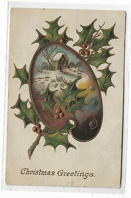 ANTIQUE Post Card Christmas Greeting 1908
