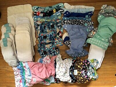EUC Lot Reusable Cloth Baby Diapers/Inserts 29 covers 24 inserts Adjust One Size