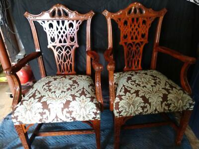 Pair Carved mahogany English Chinese Chippendale armchairs c1930