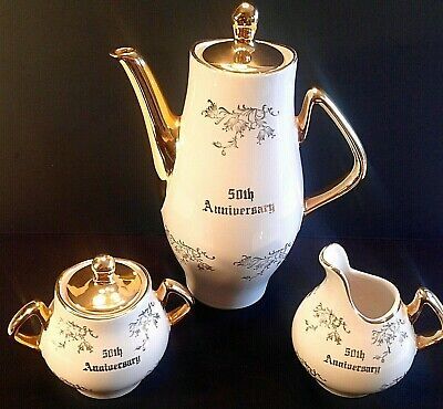 Coffee Set 50Th Anniversary Platinum Rose Vintage 22Kt Gold Set Of 3 Collectible