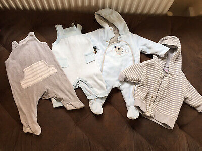 Job Lot Of Baby Boys Winter Clothes, Newborn, 0-3 Months, 4 Items.