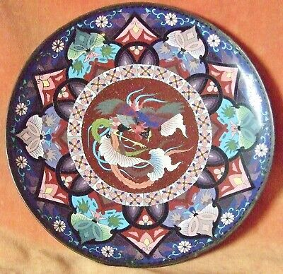 Antique Japanese Cloisonne Dish~Meiji Period ~ Excellent Condition ~ 30 Cms  Dia