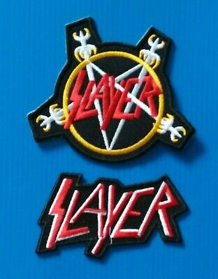 2 LOT SLAYER THRASH METAL BAND Embroidered Easy Sew/Iron On PATCH FREE SHIPPING