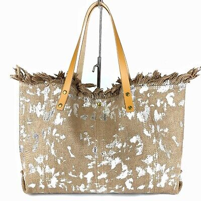 Tan & Silver Canvas Handbag Leather Handles Made In Italy Gorgeous
