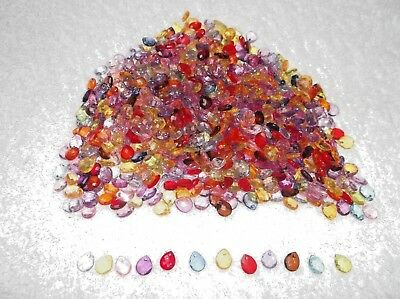 JOB LOT 50 Pretty Mini FACETED ACRYLIC TEARDROP CHARMS Mixed Colours 8 x 10mm