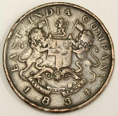 British India East India Company 1/2 Anna copper 1834 AH 1249