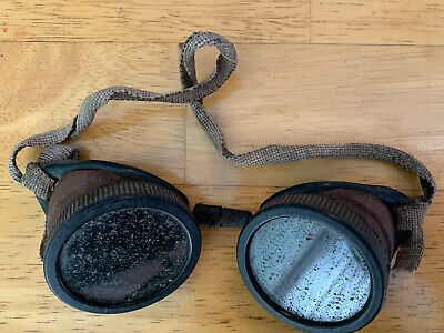 Vintage Antique Wilson Welding Goggles Motorcycle Steampunk Safety Glasses Green