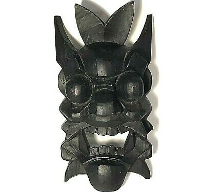 Chinese Mask Hand Carved Wood Exorcising Nuo Totemic Mask Vintage 12 1/2 Inches