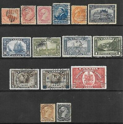 CANADA 1859-1938 range of used, couple mint no gum, faults. (16 stamps).
