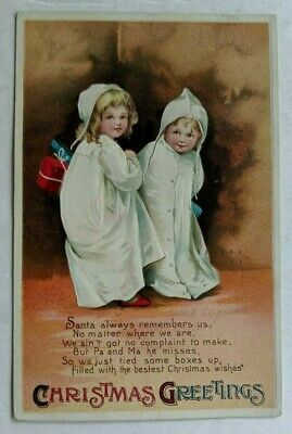 1916 Two Girls Poem Christmas Greetings Clapsaddle Postcard With Red Cross Stamp