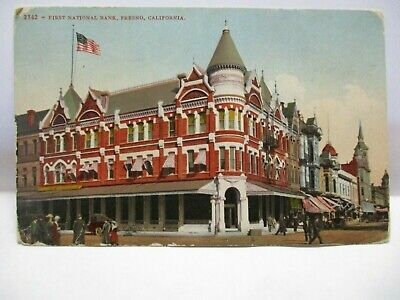 1910  Mitchell Co #2342 Postcard  First National Bank, Fresno Cal ""