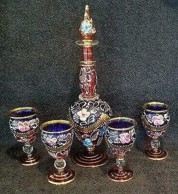Stunning Set!! Handpainted Fab Color Decanter With Matching Glasses, Unusal!!