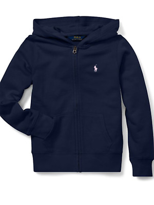 NWT Ralph Lauren Childrens wear Girls 8-10 French Navy Terry lined Hoodie
