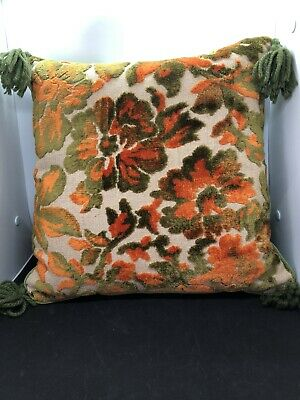 Vintage Mid Century Olive Green /Orange Velvet Square Pillow Cushion