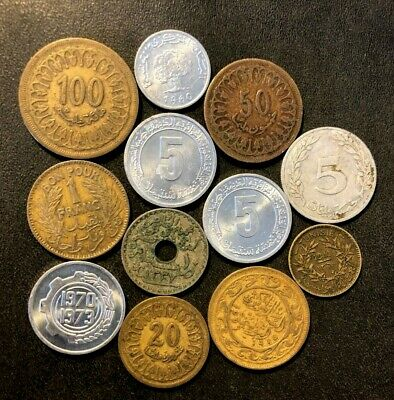Old Tunisia Coin Lot - 1918-PRESENT - 12 Islamic Coins - Lot #M28