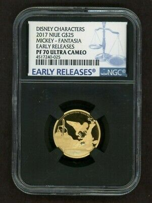 2016 Niue Disney MICKEY Fantasia G$25 Early Releases GOLD 1/4oz NGC PF70 UCAM