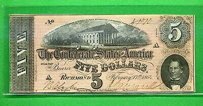1864 ~ $5 Bank Note ~ Confederate States Of America ~ About Uncirculated