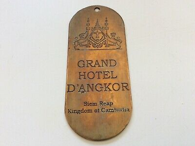 Vintage GRAND HOTEL D'ANGKOR Siem Reap Cambodia HOTEL ROOM KEY Ring Tag Fob ***