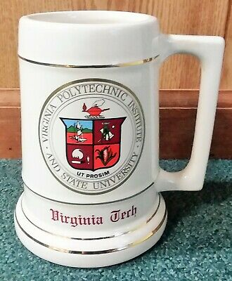 """Virginia Tech Vintage Ceramic Beer Stein 6"""" Tall with Gold Trim"""