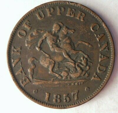 1857 UPPER CANADA 1/2 PENNY - High Quality Coin - Big Value - Lot #M28