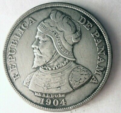 1904 PANAMA 1/2 BALBOA - Great Coin - RARE Low Mintage Silver Coin - Lot #M28