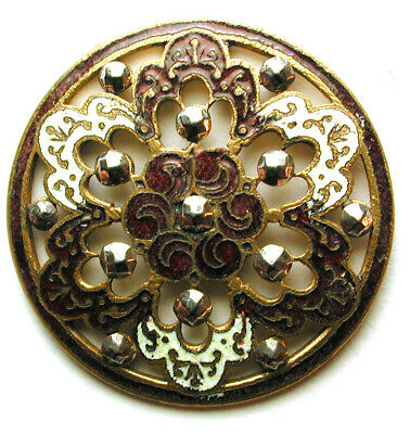 Lg Sz Antique French Enamel Button Pierced Design w/ Cut Steel Accents 1& 1/4""