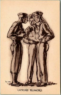 "1940s Artist-Signed W. MORGAN Postcard ""LATRINE RUMORS"" Military Comic WWII"