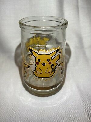 Vintage Pokemon #25 PIKACHU Promotional Welch's Glass Jelly Jar NINTENDO 1999