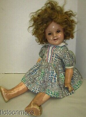 "Vintage Original Ideal Shirley Temple Blonde Composition Doll 18"" Smiling Teeth"