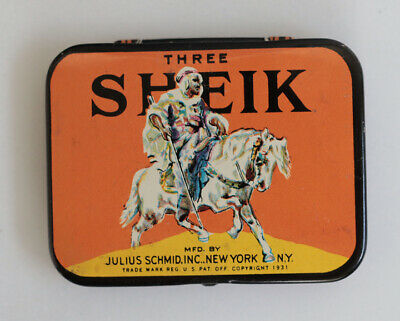 1940s SHEIK Condom Tin  Unused and Complete  metal  sign
