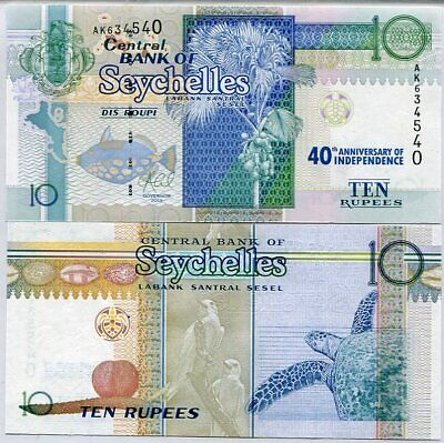 Seychelles 10 Rupees 40Th Comm. Independence 2013 P 36 Unc Nr