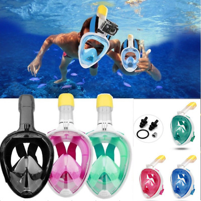 UK Full Face Diving Mask Snorkel Scuba Anti-fog Swimming Goggles For GoPro XS-XL