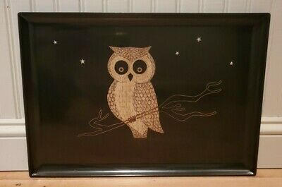 """Vintage Couroc Serving Tray - Owl With Stars Black Resin With Inlay 18"""" x 12.5"""""""