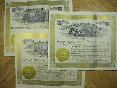 1897 - 1899 PUEBLO COLORADO Whalin Tunnel & Gold Mining Co. Stock Certificates