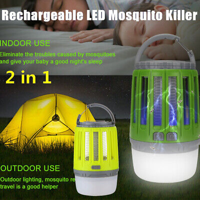 Waterproof Bug Zapper LED Camping Lantern USB Rechargeable Mosquito Killer Lamp