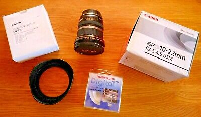 Canon EF-S 10-22mm f3.5-4.5 Ultrasonic USM AF/MF Zoom Lens + Filter, Hood & Caps