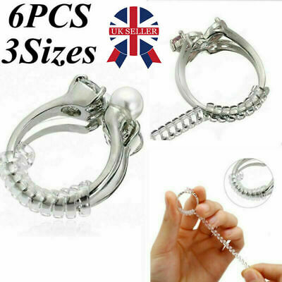 6PCS Ring Size Reducer Resizer Adjuster Clip Snuggies Guard Tightener Clear