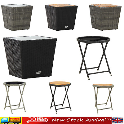 Poly Rattan Outdoor Garden Patio Coffee Tea Table Glass/Wood Furniture Table NEW