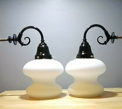 Pair Vtg Mid Century Modern Restored Electric Wall Sconce Light Fixtures