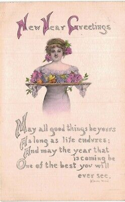 New Year K Leone Wood Lady In Pink WIth Roses 1910 Sharp Stiff A/S