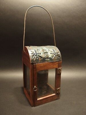 Antique Style Wood Punched Tin Glass Lantern Lamp Candle Holder