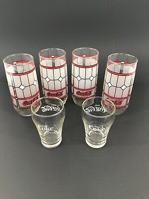 Vintage Coca Cola Collection 4 Frosted Stained Glass and 2 Mini Glasses Lot of 6