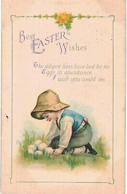 Clapsaddle Easter Uns Wolf Blond Boy Collects Eggs 1910 A/S