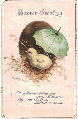 Clapsaddle Easter Chick Umbrella AS IS 1910 A/S