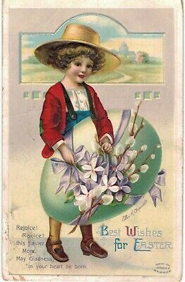 Clapsaddle Easter Girl Straw Hat Exaggerated Egg AS IS 1910 A/S