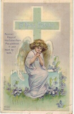 Clapsaddle Easter Angel In Purple 1910 A/S