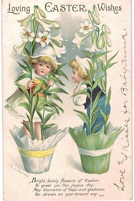 Clapsaddle Easter Children In Potted Lillies Sharp 1910 A/S
