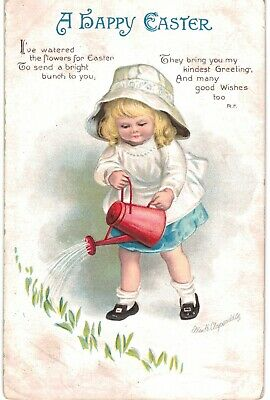 Clapsaddle Easter Pretty Blond Girl Watering Can 1910 A/S