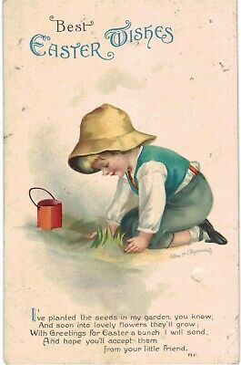 Clapsaddle Easter Boy Gardener Plants Seeds 1910 A/S