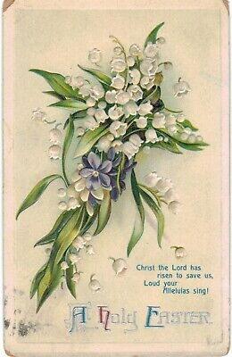 Clapsaddle Easter White Purple Flowers Christ Risen 1910 A/S